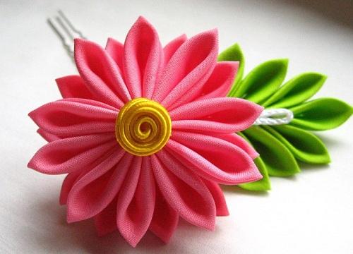 Цветы из ленточек картинки