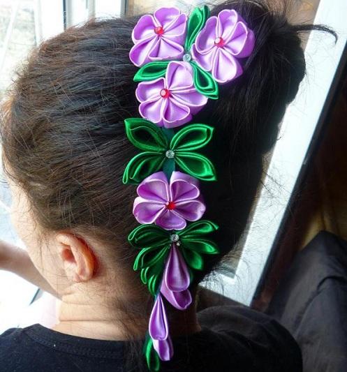Плетение из ленточек цветов